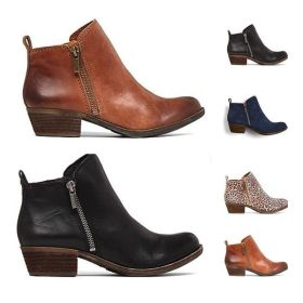 Womens New Leather Suede Booties Chunky Heel Ankle Vintage Boot