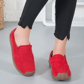 Women Nubuck Loafers Casual Comfort Slip On Plus Size Shoes