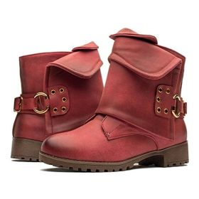 Women Leather Wide Calf Ankle Boots