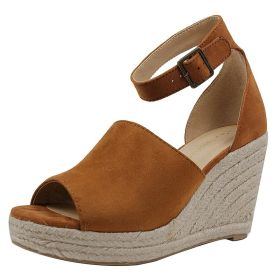Women Plus Size Espadrille Wedge Peep Toe Ankle Strap Sandals