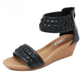 Braided Bohemian Wedges Plus Size Comfort Roman Shoes
