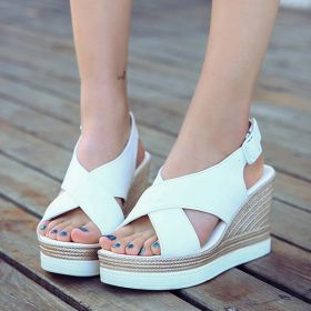 Womens Casual Buckle Wedge Heel Sandals