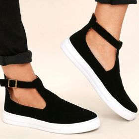 Solid Color Ankle Strap Buckle Round Toe Flats