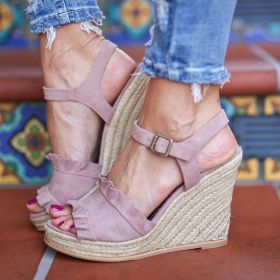 Straw Wedges Heel Ruffles High Heel Large Size Sandals