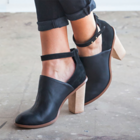Heeled Boots Retro Ankle Strap Chunky Heel Ankle Boots
