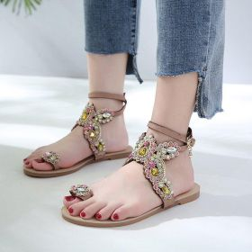 Women Rhinestone Adjustable Buckle Flip-flop Boho Sandals