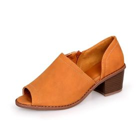 Women's Fall Solid Leaky Toe Chunky Heel Shoes