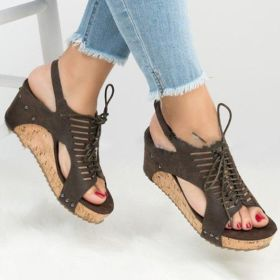 Plus Size Wedge Sandals Lace up Cork with Blocking Hook-Loop
