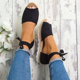 Plus Size Espadrilles Sandals Peep Toe Lace Up Summer Platform Sandals