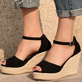 Solid Color Peep Toe Ankle Strap Buckle Wedges