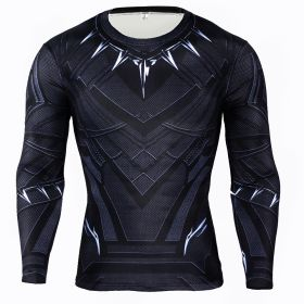 The Avengers Black Panther Cosplay Sport Fitness Long Sleeve Tight Tops Compression Tee Shirt