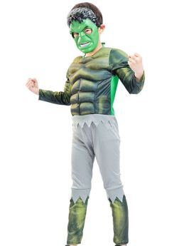 Green Giant Hulk Cosplay Costume Muscle Jumpsuit for Kids with Helmet
