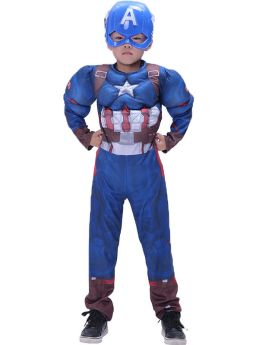 Avengers The Captain America Kids Cosplay Halloween Costume Blue Muscle Jumpsuit with Helmet