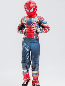 Avengers Spiderman Cosplay Children's Costume Red Kids Muscle Jumpsuit with Helmet