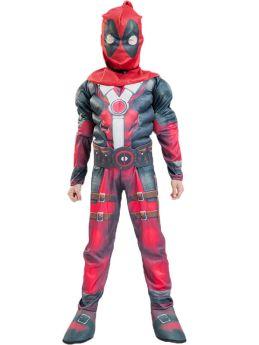 Marvel Deadpool Kids Cosplay Muscle Halloween Costume Jumpsuit with Helmet