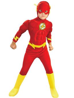 Childrens The Flash Red Cosplay Costume Halloween Party Jumpsuit with Helmet