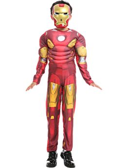 Red Iron Man Kids Cosplay Cosutme Halloween Party Muscle Jumpsuit with Helmet