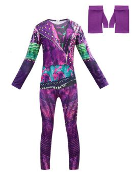 Mal/Evie Bertha Maleficent Cosplay Costume Jumpsuit for Kids