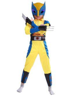 Wolverine Cosplay Costume Boy Kids Halloween Muscle Jumpsuit with Helmet