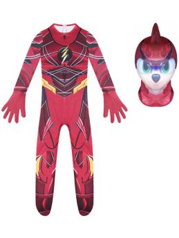 The Flash Cosplay Costume Kids Halloween Red Jumpsuit Tights with Helmet