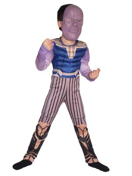 Avengers Thanos Cosplay Muscle Kids Halloween Cosutme Jumpsuit with Helmet