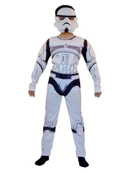 Star Wars White Soldiers Cosplay Muscle Costumes with Helmet for Kids