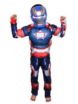 Blue Iron Man Kids Cosplay Jumpsuit Halloween Cosutme with Helmet