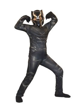 Marvel Black Panther Cosplay Muscle Kids Jumpsuit Halloween Cosutme with Helmet