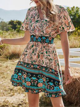 Womens V-neck Boho Floral Print Short Dress Short Sleeve Summer Mini A-line Dress