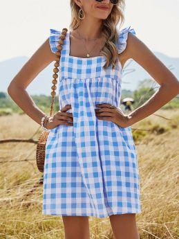 Plaid A-line Square Neck Casual Loose Summer Short Dress