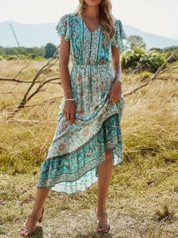 Casual Holiday Floral Printed Long Dress Summer Beach Maxi Dresses