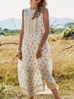White Summer Sleeveless Floral Print Long Maxi Dress