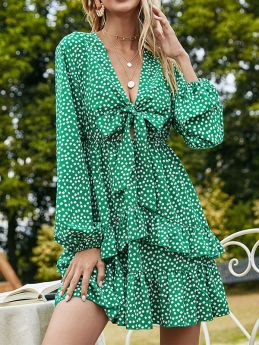 Summer Short Dress Bowknots V-neck A-line Green Polka Dots Ruffles Long Sleeve Dress