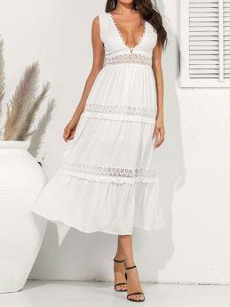 Womens Deep V-neck Summer Long Dress White Lace Backless Maxi Dresses