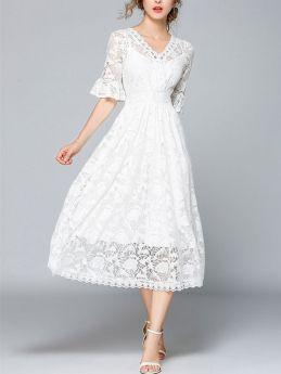 Summer Dresses V-neck Short Sleeve Sweet White Lace Midi Dress