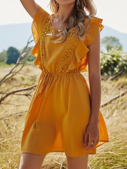 Womens Solid Color Stitching High Waist Ruffles Yellow A-line Summer Short Mini Dress