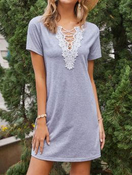 Casual Loose Solid Color Lace V-neck Knitted Grey Summer Short T-shirt Dress