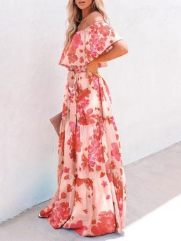 Womens Off the Shoulder Floral Printed Swing Summer Maxi Dress