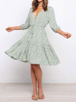 Womens V-neck Short Sleeve Drawstring Lace-up Floral Print Green Summer Dress