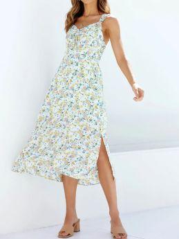 Summer Floral Print Long Dress Elastic Waist Split Straps Holiday Midi Dresses