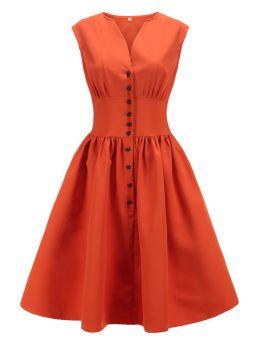 Summer Vintage Dresses Solid Color Retro Hepburn Style Single Breasted Swing Midi Dress Plus Size