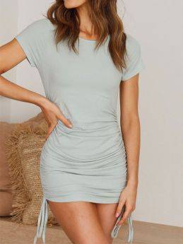 Summer Knit Solid Color Round Neck Short Sleeved Drawstring Bodycon Mini Dress