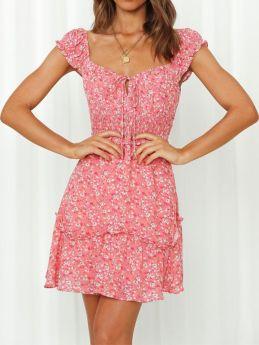 Summer Pink Floral Printed Square Neck Elastic Waist Soft Comfort Mini A-line Dress