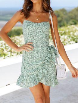 Summer Sweet Ruffles Floral Print Straps Mini Dress for Women
