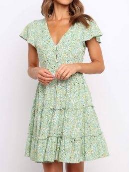 Women Green Floral Printed V-neck Single Breasted Rayon Short Summer Dresses