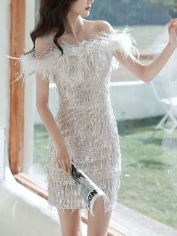 Summer Off the Shoulder Tassels Sequined Short Evening Prom Bodycon Dress