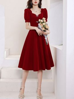 Summer Short Sleeve Bowknot Burgundy Prom Midi Evening Cocktail Party Dress