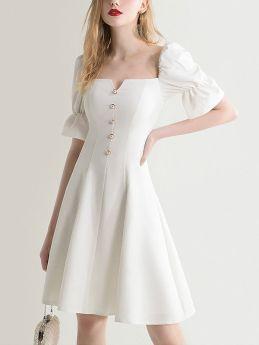 White Evening Dress Summer Vintage Hepburn Style Short Party Dress