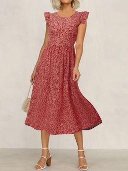 Womens Ruffled Sleeveless Floral Print A-line Midi Summer Dress