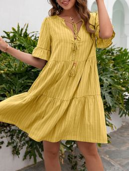 Casual Loose Short Sleeve V-neck Solid Color Summer Dress